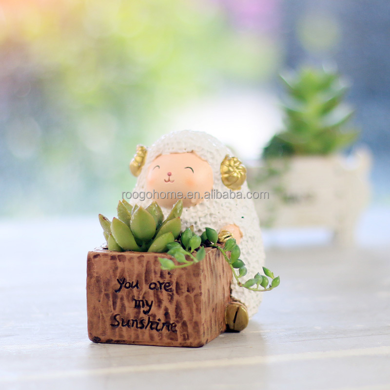 comercio al por mayor de resina de hadas bonsai en miniatura olla buena suerte ovejas