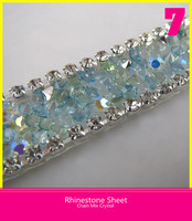Hotfix Crystal Sheet Sliver Diamond Lace T. Blue and T. Green Pointback Rhinestone Belt