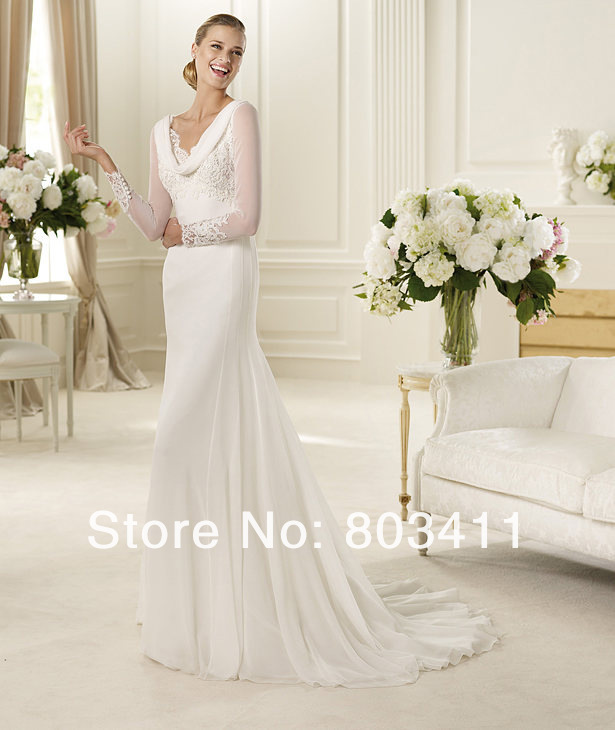 Cowl Neckline Wedding Gowns: Freeshipping-Classical-Long-Sleeve-Cowl-Neckline-Sweep