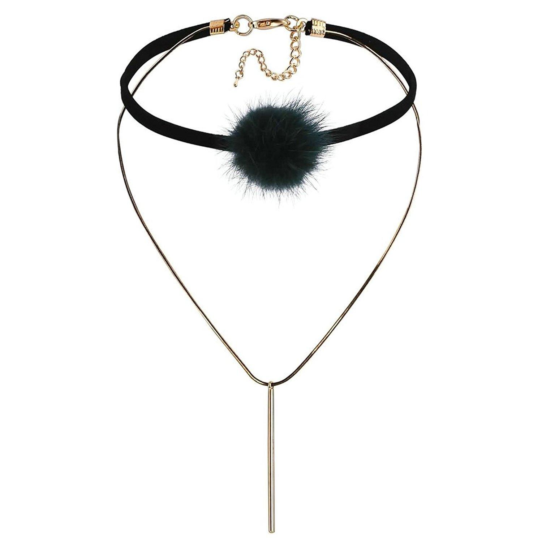 KnSam Women Stainless Steel Choker Necklaces Collar Velvet Fur Ball Cylinder Layers Gold Black