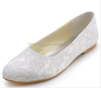Woman Ivory White Round Toe Comfortable Wedding Lace Ballet Bride ...