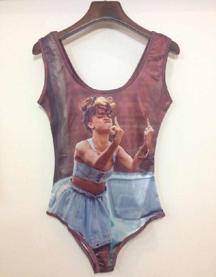 Женщины купальный костюм Rihanna / мэрилин монро / животные принт купальник цельный сексуальный боди Harajuku женщины в одежда