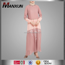 Islamic Clothing Kebaya Long Sleeves Maxi Dress With Flower Beading Exquisite Muslim Abaya Middle East Woman Design