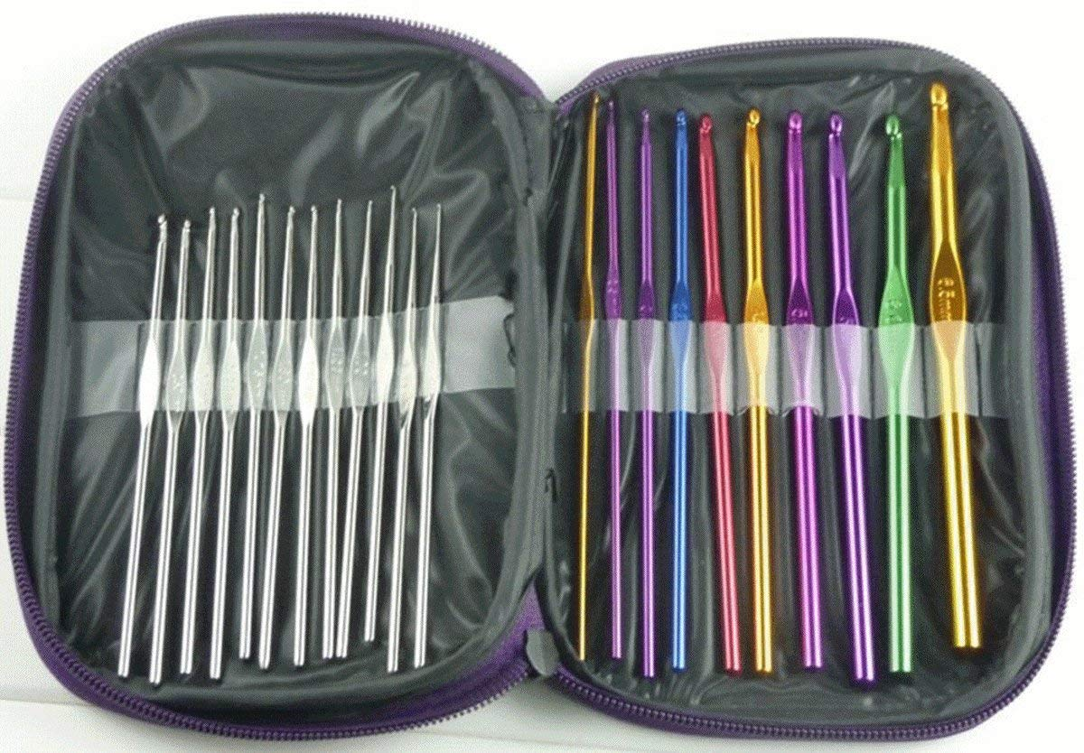 WellieSTR 22pcs Multi-color Aluminum Alloy Crochet Hooks Bearded Needles Weaving Tools in Different Sizes with PU Case