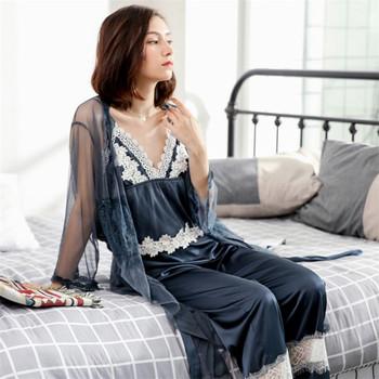 3e007a0cea Wholesale silk 3-piece PJ set sexy mesh Sleepwear women robe luxury lace  home ladies
