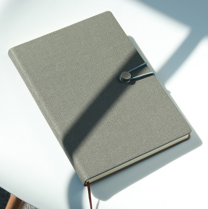 High Quality Gray Leather Notebook Custom Personalized Hardcover Advertising Note Book With Round Metal Closure
