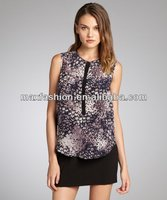 Plum And Violet Silk Feather Printed Pocketed Sleeveless Blouse,designer clothing manufacturer in China