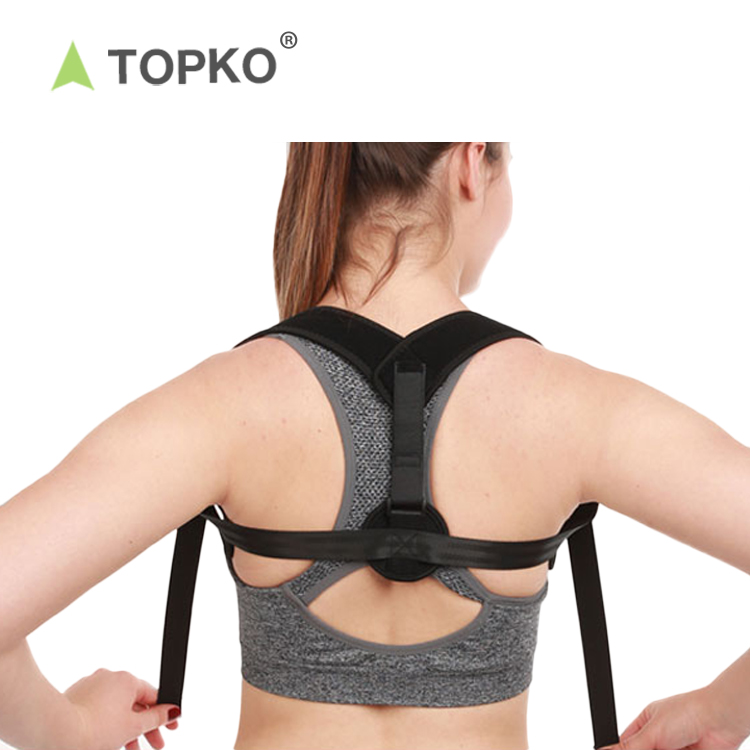 TOPKO hot selling Posture Support with armpit pad Extension Strap back brace Posture Corrector, Black