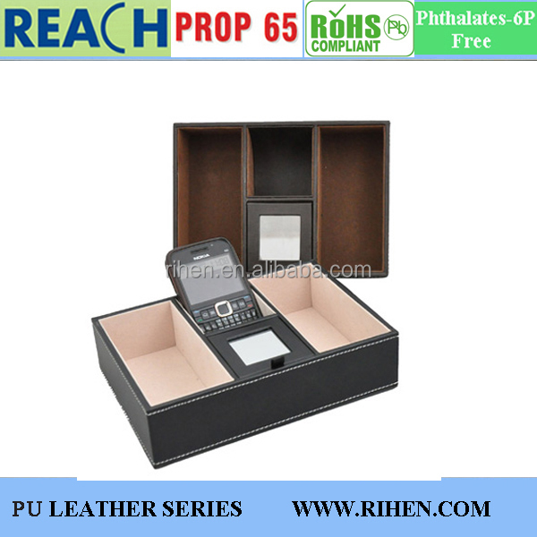 New Design faux Leather Desktop Organizers & Sundries Boxes for Office