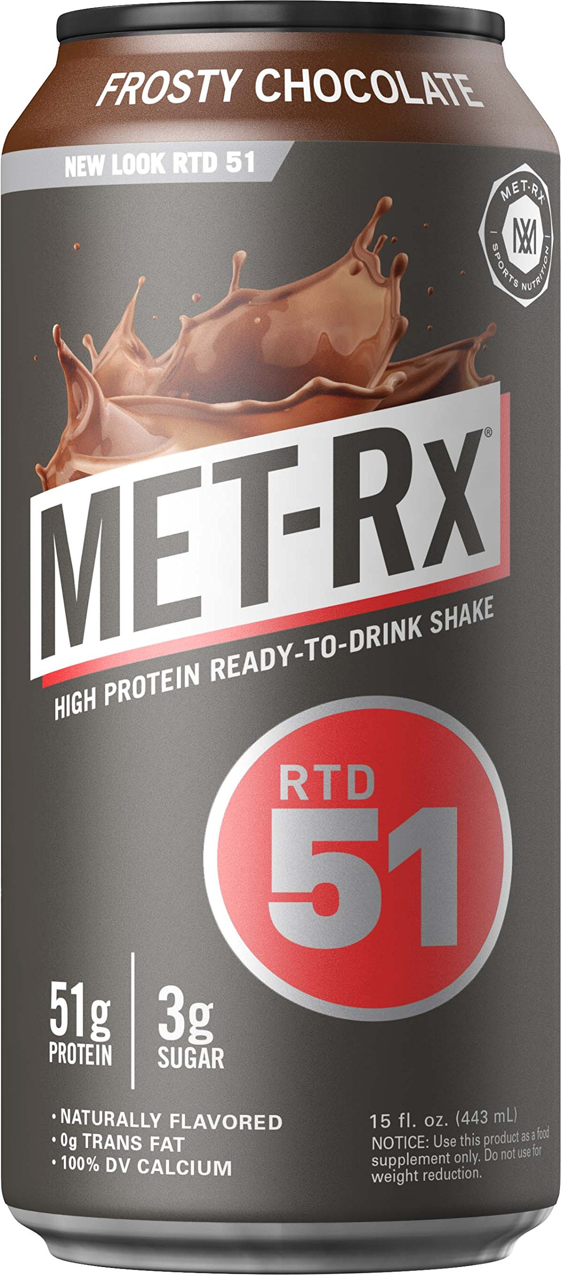 MET-Rx RTD 51, Frosty Chocolate, 15 oz. (12 count), Convenient Ready To Drink Protein Shake with 51 g of Protein, BCAAs, and Other Amino Acids and Vitamins, Great for Post-Workout Recovery
