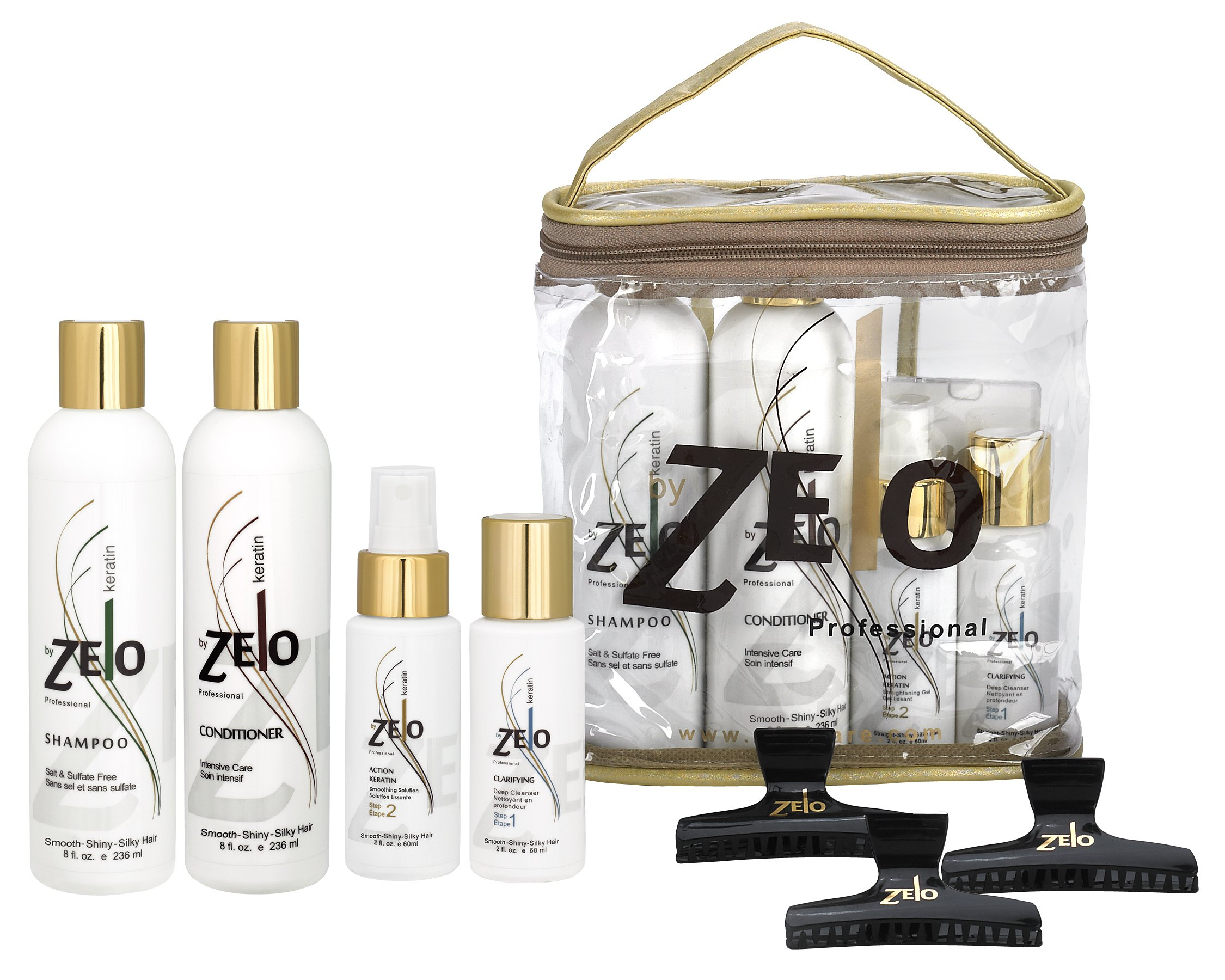 Zelo Brazilian Keratin Hair Kit | Clarifying Sulfate Free Shampoo, Intensive Care Conditioner, Deep Cleanser Keratin, Smoothing Gel & Hair Clips | Eliminate Frizz & Volume | Soften & Straighten Hair