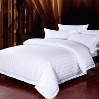 100% cotton queen size 4 pieces 330tc 3cm stripe jacquard hotel bed sheet