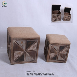 Rustic Color Low Square Shape Wooden Foot Stool with Foam