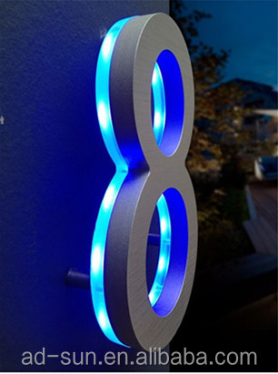 manufacture directly stainless steel backlit led number 304 stainless steel door numbers led digital numbers