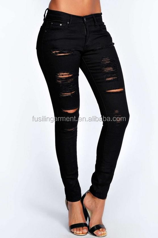 High Rise Women Jeans Trousers Heavy Ripped Skinny Jeans