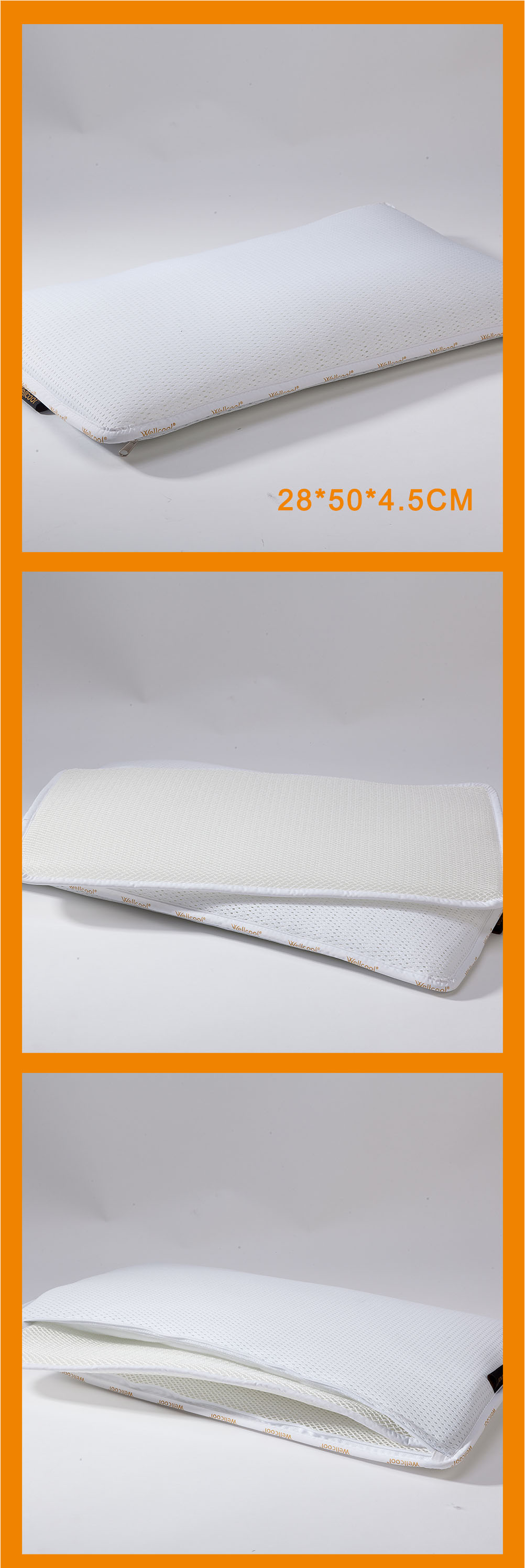 Airflow spacer mesh fabric height adjustable pillow with 4 pieces core liner