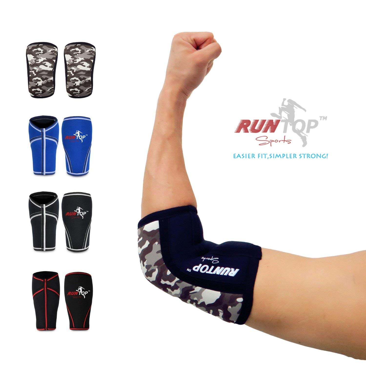 82e388b71c Elbow Sleeves (1 PAIR) RUNTOP Neoprene Best Performance Elbow Supports Pain  Compression Brace Cap