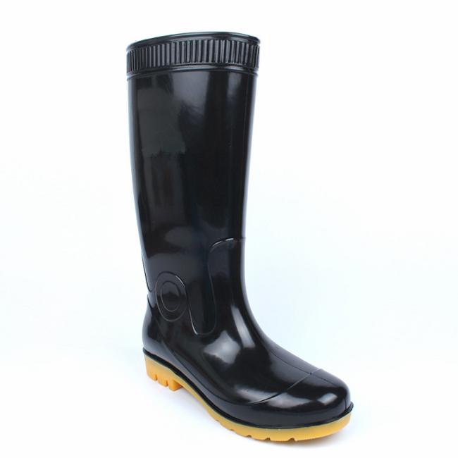 काले पीवीसी पानी Rainboots/काम रबड़ के जूते/सुरक्षा बारिश जूते