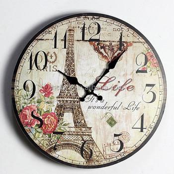 8fd3b8f2416 Retro Vintage Paris Torre Eiffel Flor Rosa Decoração Da Casa de Madeira  Relógio de Parede 35