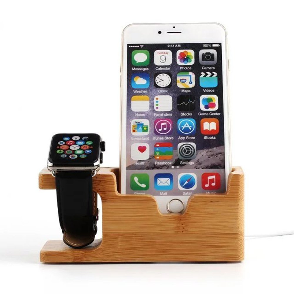 Pandawell Bamboo Wood 2 in 1 Apple Watch & iPhone Charging Stand [Upgrade Version] Dock / Station / Cradle / Holder for Apple Watch 42mm & 38mm, iPhone 6S / 6S Plus / iPhone SE / Galaxy S7 / S7 Edge