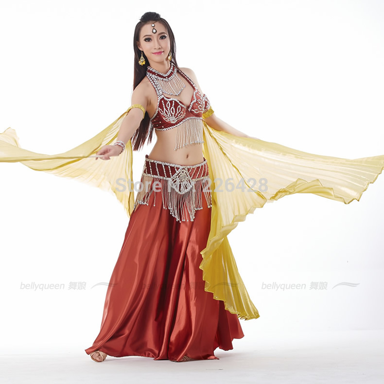 52e31a583 Bollywood Dance Costumes 3 Pcs Bra&Belt&Skirt Clothing For Dance 6 Colors Indian  Dresses Practice/Stage Wear Performance Costume