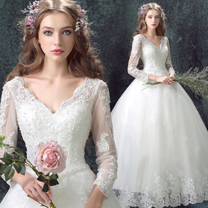 0715308a39d ZH0578F Best sale Korean wedding gown v-neck a word shoulder the bride  wedding dress