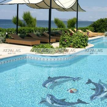 Atpalas Dolphin Glass Swimming Pool Mosaic Tile Customize Pattern Glass Tile Mosaic Buy