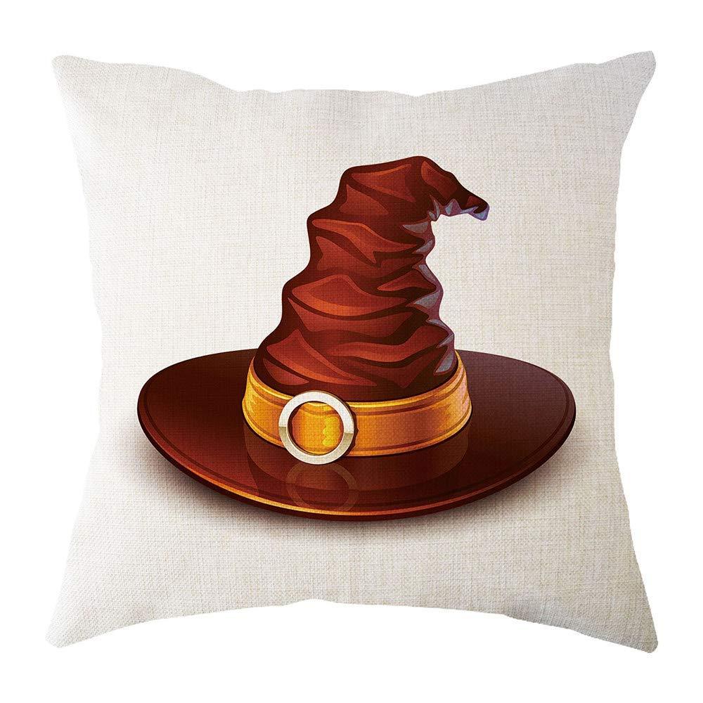 MaxFox Halloween Geometric Design Throw Pillow Cover Square Flax Pillow Case Cushion for Office Home Room Car Decor