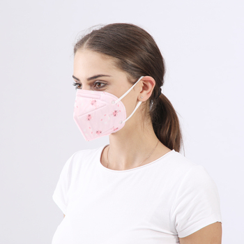 pink printed folding mask cotton medical protective face mask