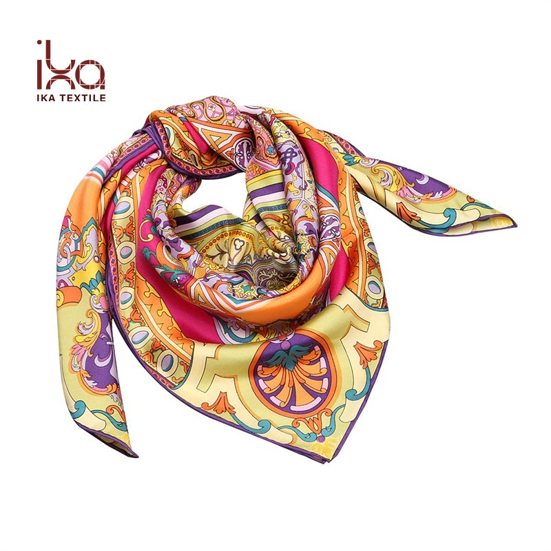 High Quality Custom Printed Pure Silk Brand Name Square Scarf Indonesia Hijab