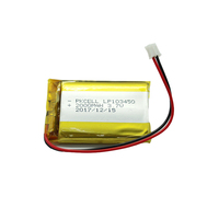 3.7v lithium polymer 103450 1800mah 2000mah li-po small rechargeable battery