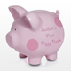 Customized Ceramic baby's first piggy bank pink