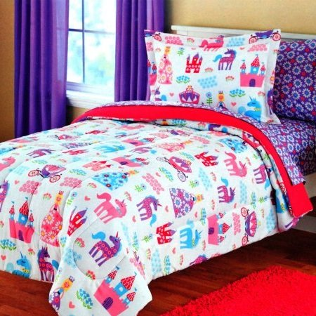 5 Piece Girls Princess Unicorn Comforter Set Twin, Reversible Bedding, Beautiful Allover Flowers and Floral Pattern, Vibrant Castles Carriages Hearts, Bright Pink Orange Yellow Blue Aqua Green