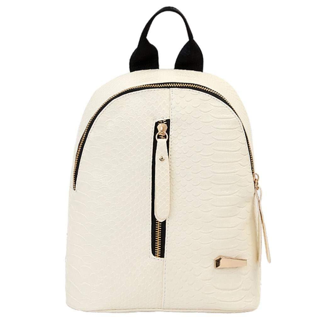 "Shybuy Fashion Lightweight Women PU Leather Backpack Casual Shoulder Bag Purse Mini (White, 5.17.87.9"")"