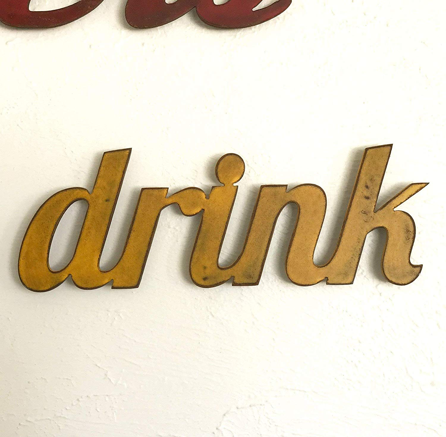 "drink - Metal Wall Art home decor - Handmade - Choose 16"", 24.5"" or 33.25"" long, Choose your Patina Color, OR You can choose ANY 2-9 letter custom word! (see options)"