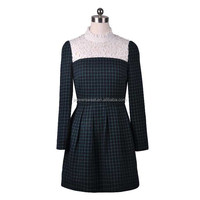 unique vintage design grid dress with lace long sleeve