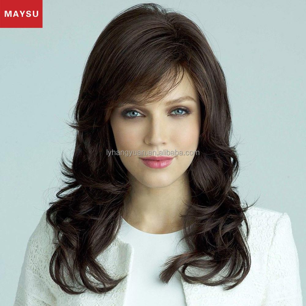 largo rizado pelucas de pelo humano para las mujeres maysu inclinado explosin pelucas naturales brasilea virginal