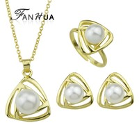 New Fashion Gold Silver Plated Imitation Pearl Triangle Necklace Earrings RIngs Set