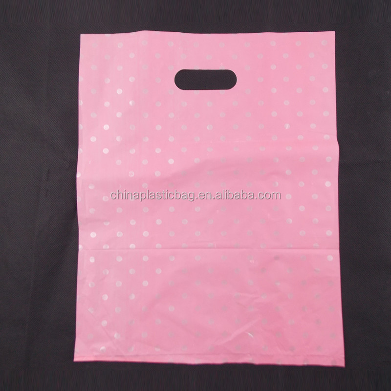 pure pink biodegradable plastic gift bags by virgin or recycled material in strong tearing strength