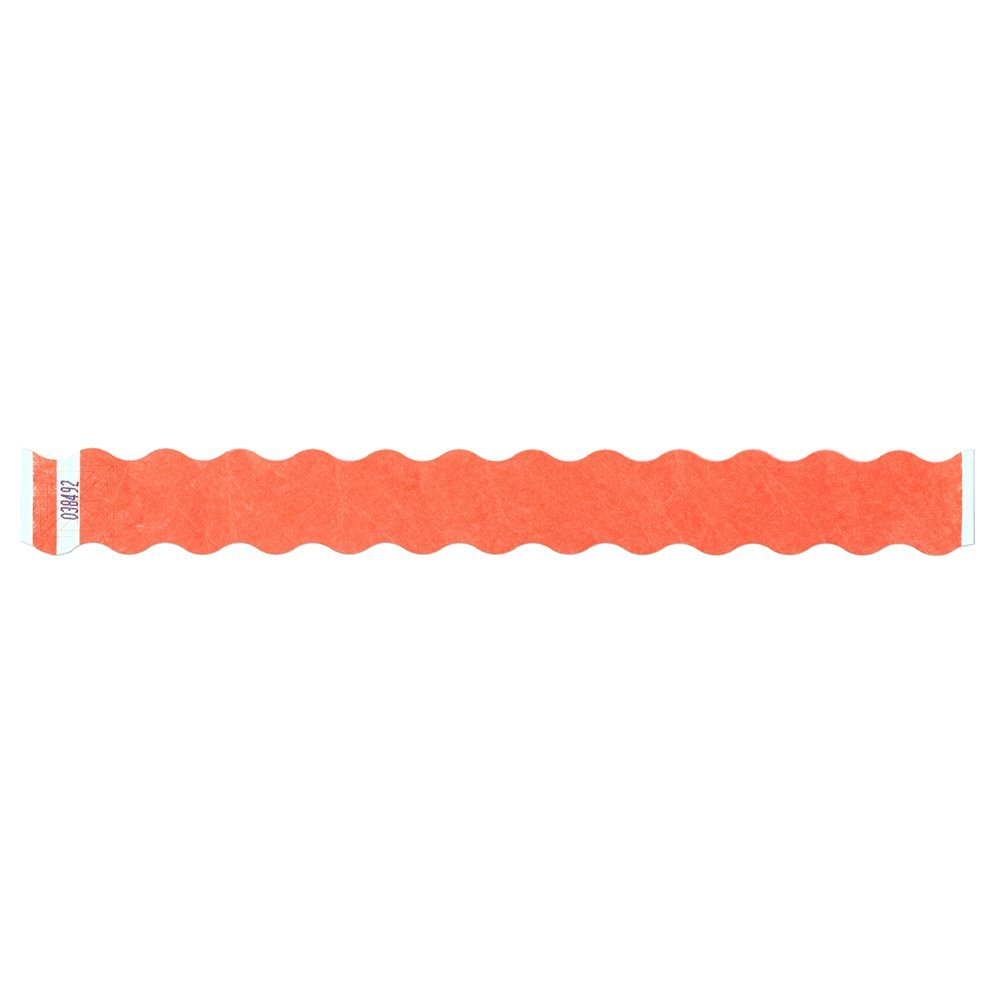 "Tyvek Wristbands Tytan-Band® Wave 1"" - Day Glow Orange - 500 Pieces Per Box"