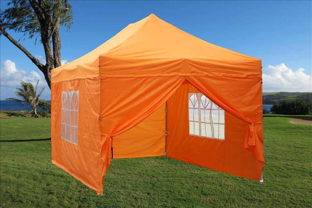 10'x15' Ez Pop up Canopy Party Tent Instant Gazebos 100% Waterproof Top with 4 Removable Sides Orange - E Model By DELTA Canopies