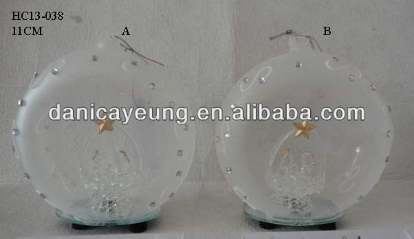 LED FORSTED GLASS FLAT BALL WITH FIGURINE INSIDE