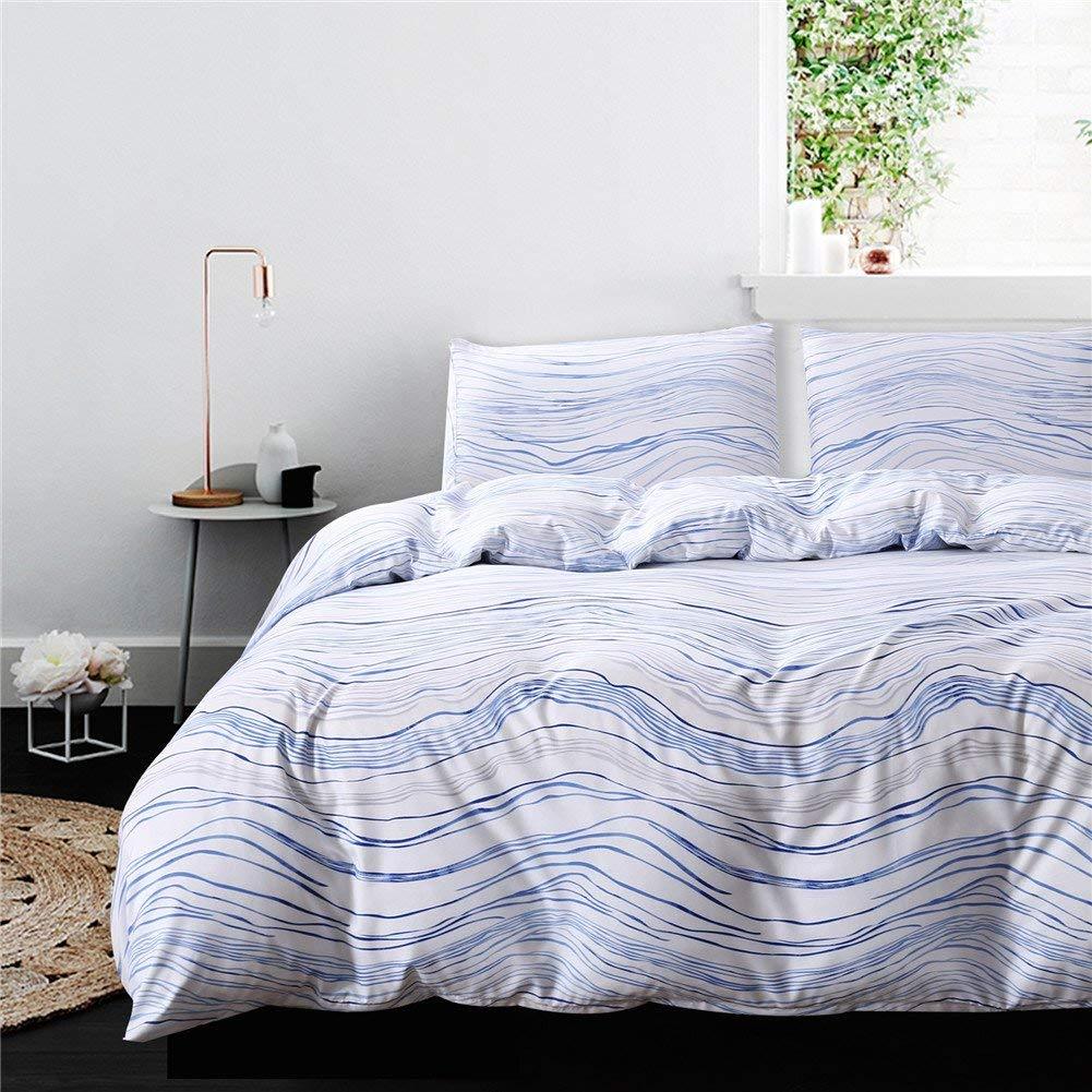 "Striped Bedding Blue Stripes Duvet Cover Set Blue Wave Stripes Printed Design Blue Bedding Sets King (104""x90"") One Duvet Cover Two Pillowcases (Blue Wave, King)"