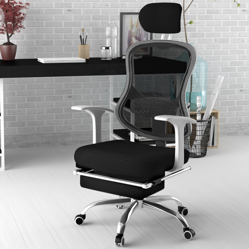 Q09 High Back Office Furniture Chairs pp Frame Mesh Recliner Office Chair With Footrest