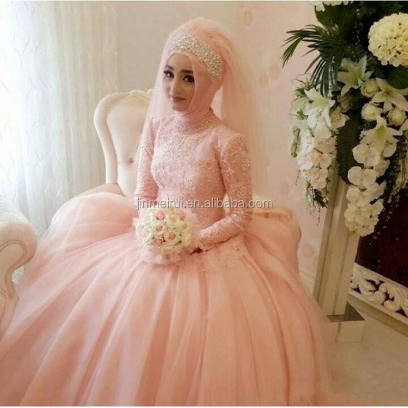 Muslim Wedding Dresses With Sleeves Vestido De Noiva Arabic Light ...