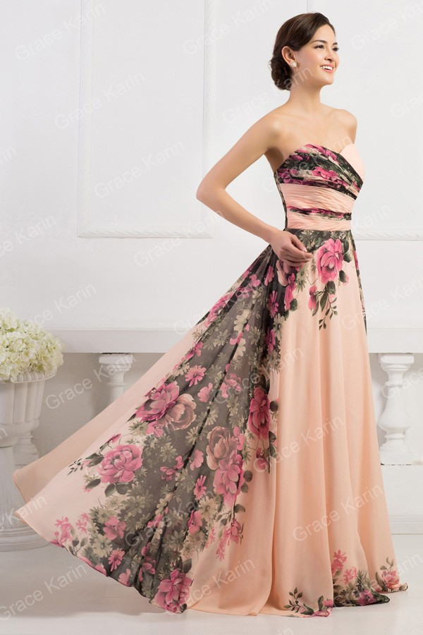 658c20ef83864 3 Designs Grace Karin Stock One Shoulder Flower Pattern Floral Print  Chiffon Evening Gown Dress Party Prom dresses 2015 CL750234USD  59.00-63.60/piece