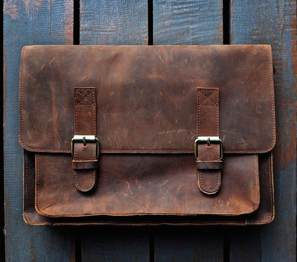 """SUPER SALE "" FeatherTouch Large Leather Messenger Bag Mens Shoulder Satchel Leather School Bag Briefcase Laptop / Macbook Bag"