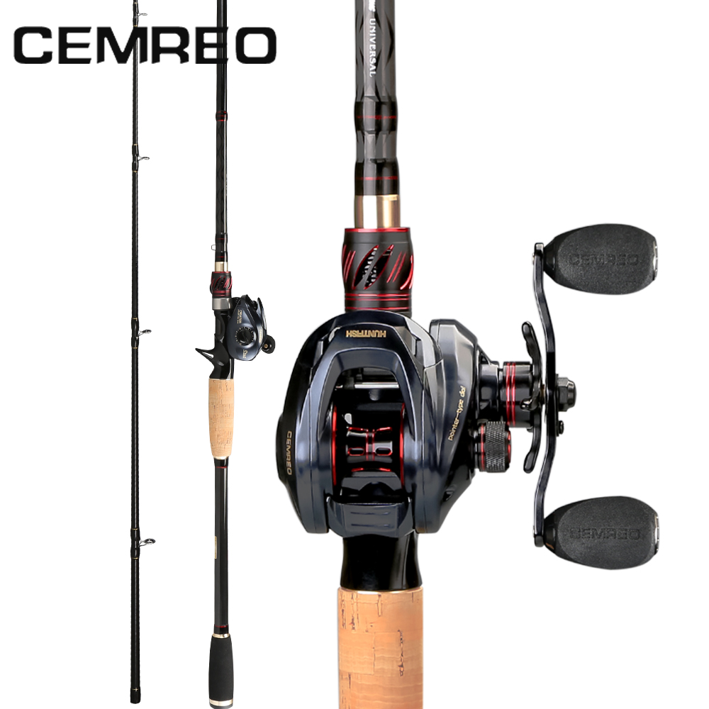 CEMREO H Action Baitcasting Carbon Fiber Fishing Rod and Reel Combo Set