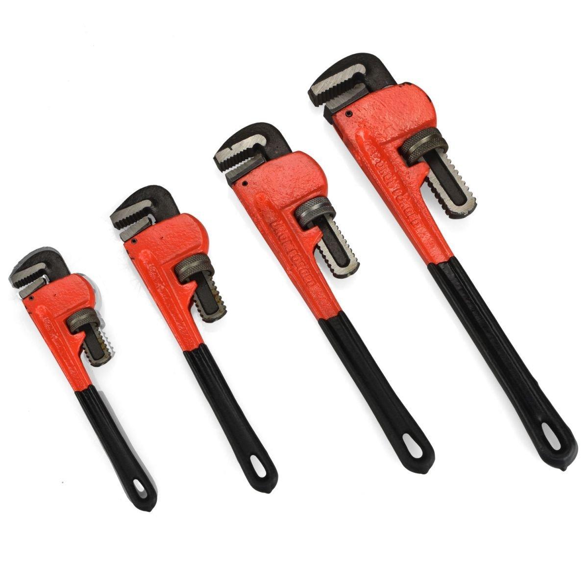 """Te echo de menos Heavy Duty Pipe Wrench 4pc Adjustable Set 8"""" 10"""" 14"""" 18"""" Monkey Soft Grip"""