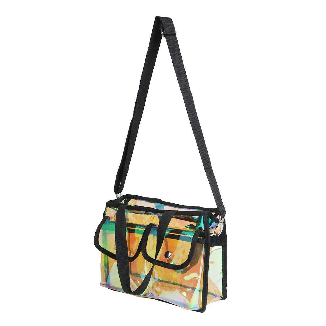 LUVODI Rainbow Color Tote Bag PVC Clear Cosmetic Organizer Case Makeup Shoulder Storage handbag with Adjustable Shoulder Strap for Travel & Daily use
